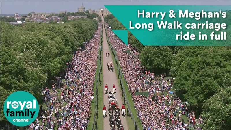 Royal Wedding Harry and Meghan's Long Walk carriage ride in full