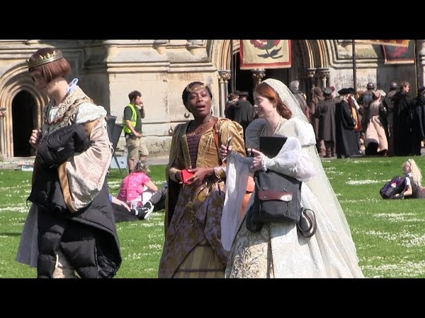 The Spanish Princess. Cast And Crew Filming On Location In Wells.