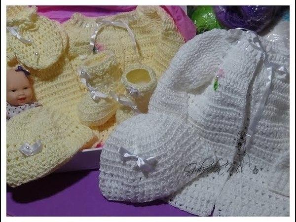 Ajuar de bebé mitones gorrita y botitas tejidas en crochet paso a paso