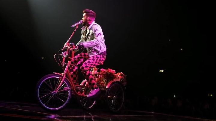 """ΛDΛM LΛMBERT ♥ on Instagram: """"Day 2 of Jazz by Queen: Bicycle Race 👑 One of my favourites to watch him perform 🖤 • • • @adamlambert @brianmayforrea..."""