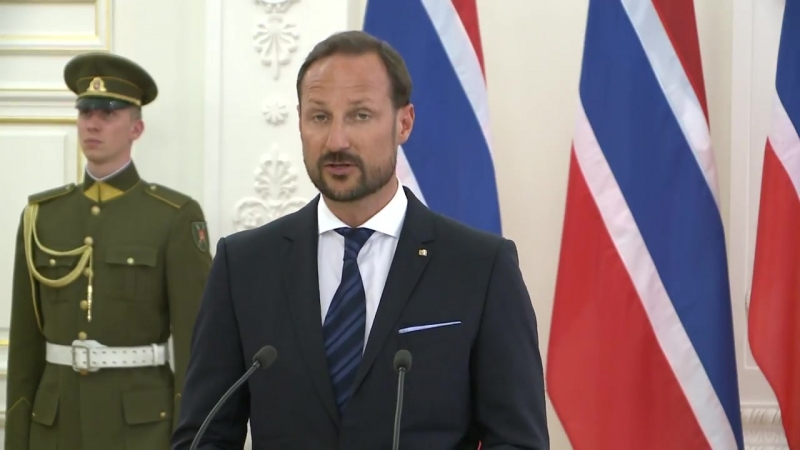 Crown Prince Haakon gives a joint press conference after talks with Lithuanian President Dalia Grybauskaite