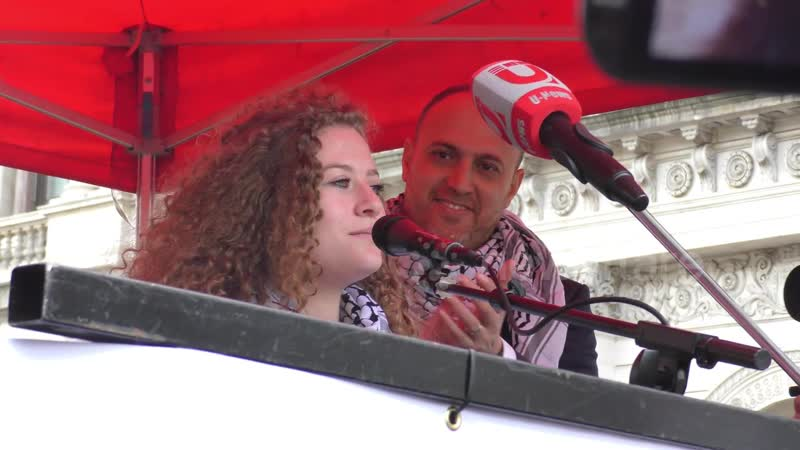 Palestinian icon Ahed Tamimi speaks at Palestine liberation demonstration 1