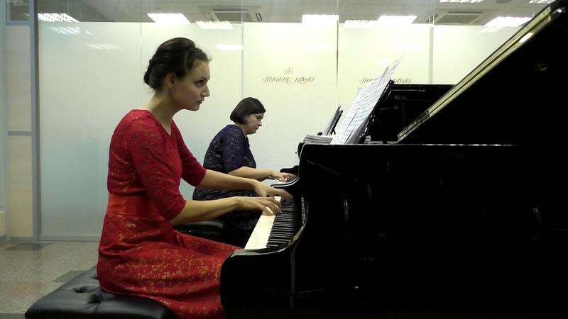 В. А. Моцарт, Соната для двух фортепиано D-Dur, часть 1. Исполняют Е. Власова и А. Расина.