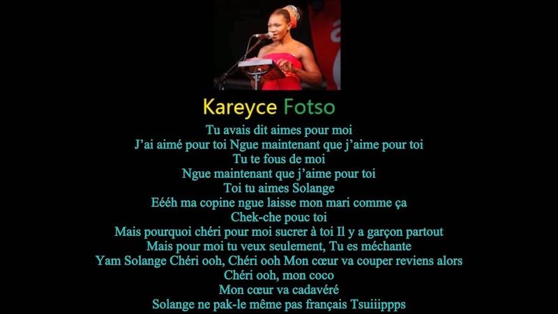CAMEROON Top Singer Kareyce Fotso Pacler Francaise Lyric