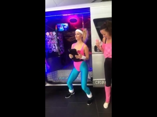 Girl in pink leotard and Blue Lycra Tights