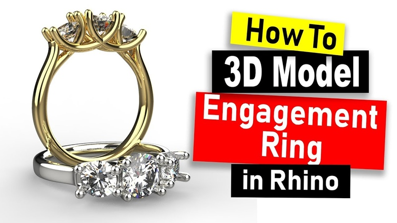 3D Model 3-Stone Engagement Ring in Rhino 6 Jewelry CAD Design Tutorial 69