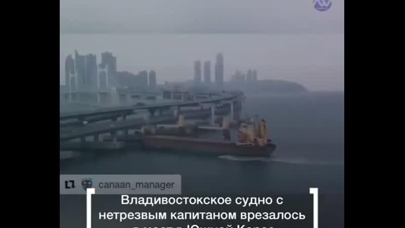 Владивостокское судно «Сигранд» врезалось в автомобильный мост в южнокорейском г