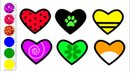 Diamond Drawing and Coloring with Glitters Learn colors Draw color miraculous hearts