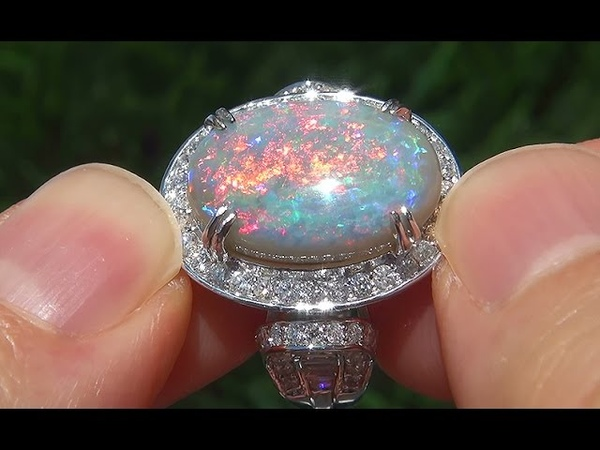 GIA Certified 10.08ct Natural Australian Opal Diamond 18k White Gold Estate Ring - A141471