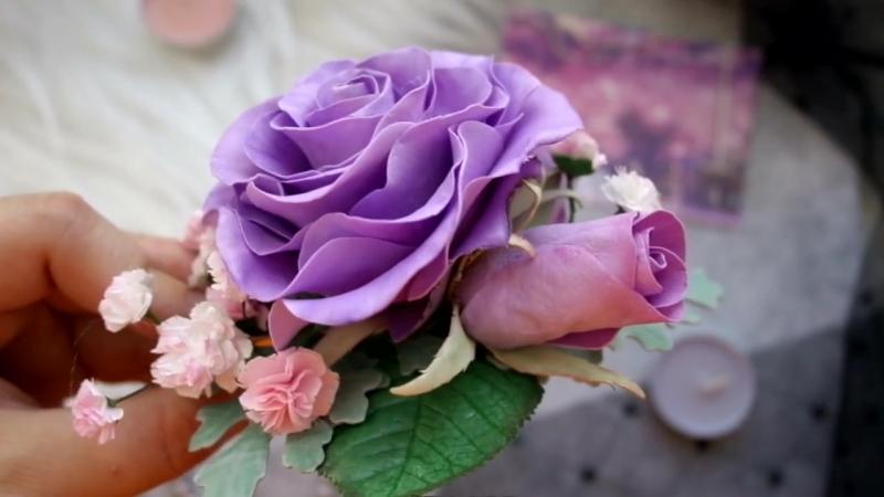 заколка розы и гипсофила