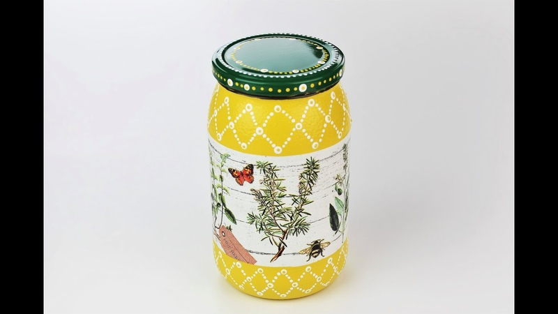 Decoupage jar - Painted jar - Decoupage tutorial step by step - DIY - Do It Yourself