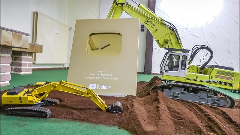 2 RC Excavators and the 1 Million gold play button!