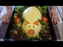 Вкусный Праздничный Поросёнок Из Картофеля Фаршированный Филе Курицы Грибов и Сыром