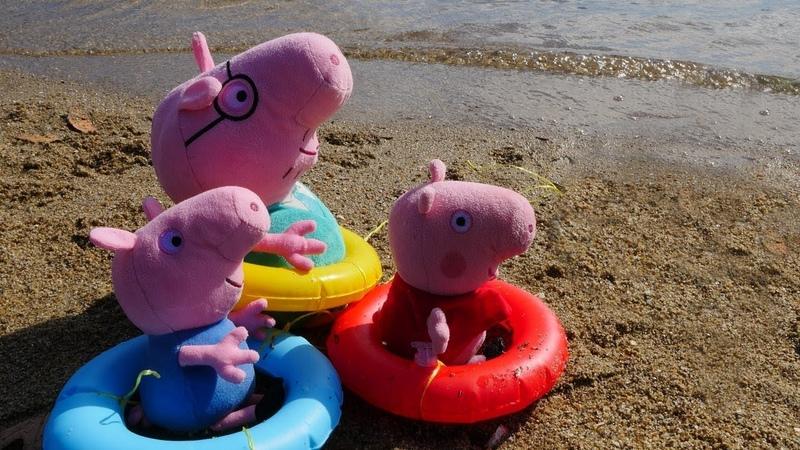 Video mit Peppa Pig. Wutz Familie geht zum Strand.