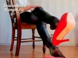 Shoeplay tease in leather pants and high heel platform pumps (Ножки, Фетиш, Фут, Foot, Fetish, Чулки, Legs, Секси)