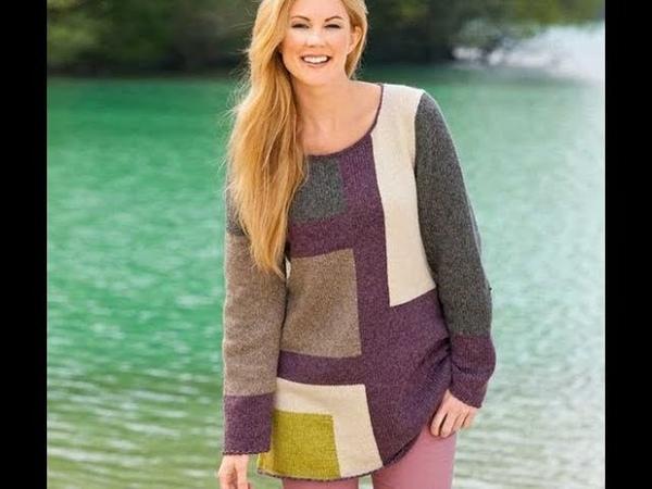 Женский Многоцветный Пуловер Спицами - 2019 / Female Multi-color Pullover Knitting Needles