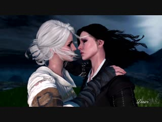 Ciri&Yennifer lesbian kissing-the witcher 3