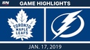 NHL Highlights   Maple Leafs vs. Lightning - Jan. 17, 2019