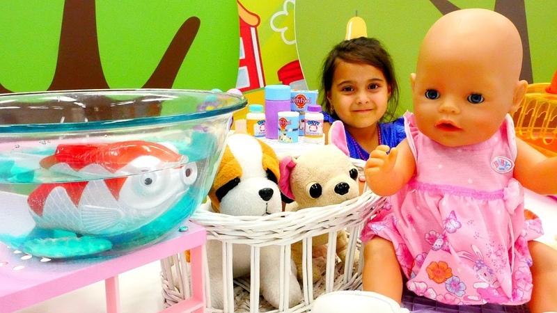 Видео с куклами. Беби Бон Эмили и Маша в зоомагазине!