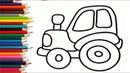 ТРАКТОР - Раскраска - Развивающий мультик для детей малышей. Учим цвета