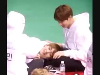 this vid of taehyung lying on top of jungkooks leg while kook looks at him with that fond smile on his face still gets me, theyr