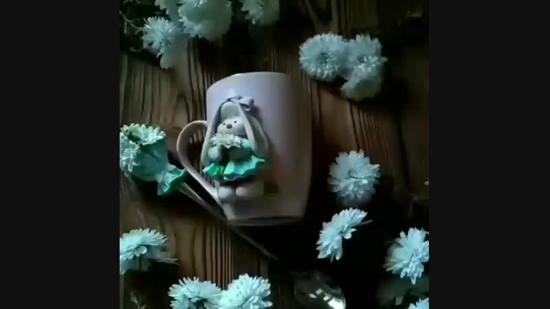 Кружка и ложка с декором из полимерной глины Зайка Ми