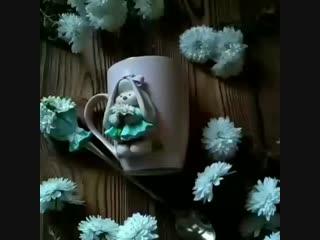 Кружка и ложка с декором из полимерной глины. Зайка Ми