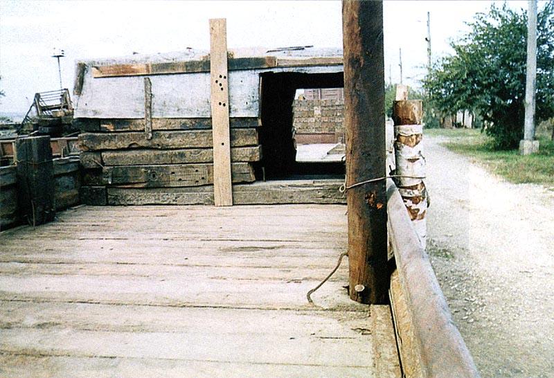 Платформа СП «Терек» с собранными на ней укрытием из шпал
