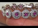 Certified Natural VS Pink Sapphire Diamond 14k Gold Gold Tennis Estate Bracelet A2631