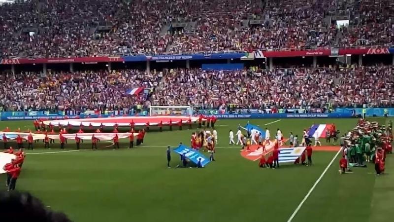 Открытие матча Вынос флагов гимны стран 6 июля 2018 1 4 я финала матч Франция Уругвай