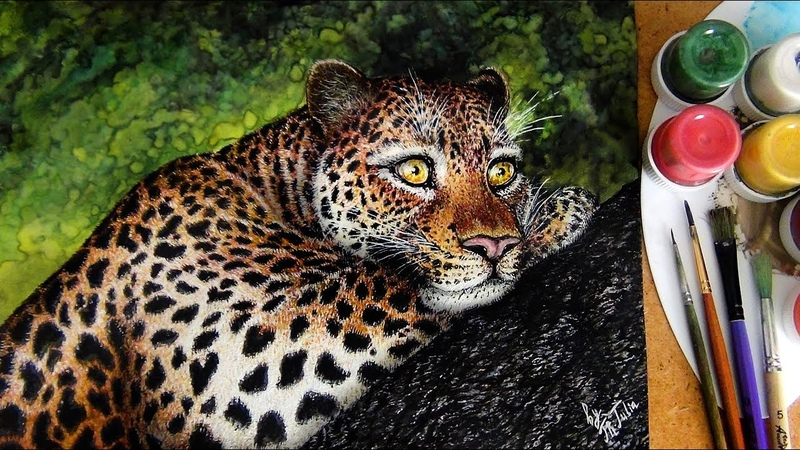 Wild Animals - Leopard - Speed Paint watercolor and gouache