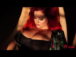 Redhead model with big tits lucy vixen collett in black erotic lingerie 12