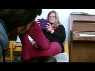 Sniff red pantyhose feet Miss Teacher