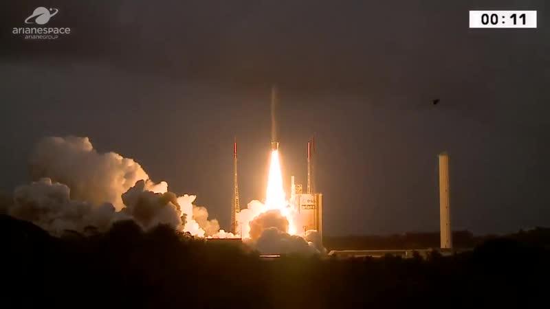 Ariane 5 liftoff with GSAT-11 and GEO-KOMPSAT-2A