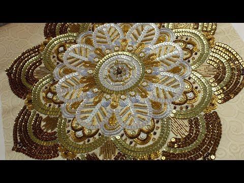 ВЫШИВКА Декоративная подушка рубка пайетки бусины стеклярус