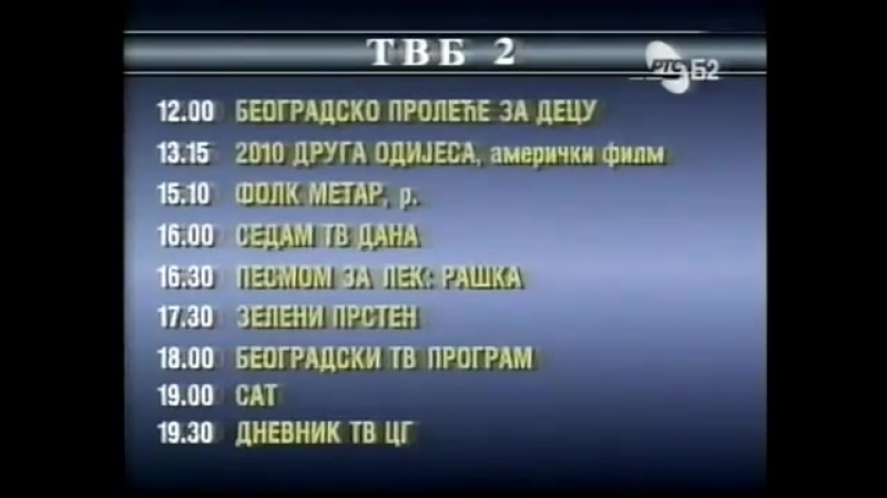 Диктор, программа передач и конец эфира (РТС Б2 [Югославия], 13.05.1994)