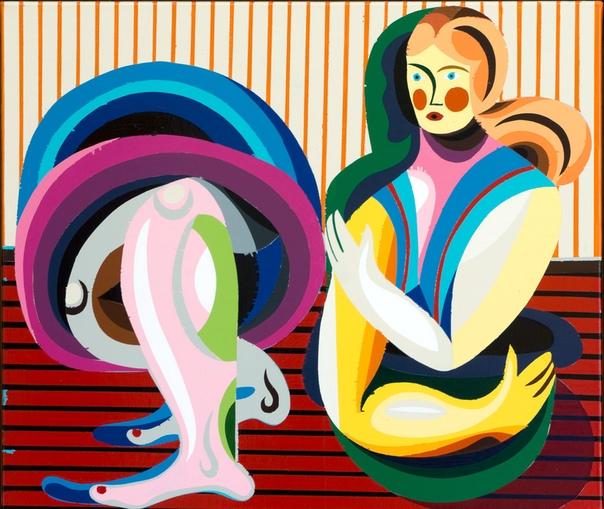 christoph ruckhaberle (1972). netsuke-75,2017, 60x70cm, enamel on canvas.