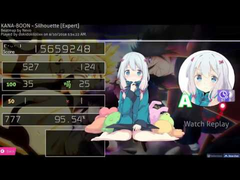 Osu! | dokidokilolixx | KANA-BOON - Silhouette [Expert] HD,DT 95.54% 777/784x 1❌ 634 pp 2