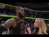LeBron James after the game finding out about the horrible news of Erin Popovichs passing