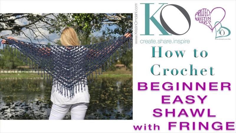 How to Crochet Top Down Triangle Celeste Shawl with Boho Fringe SLOWER for Beginner