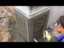 Excellent Construction Techniques | How to Decorate The Column With Mixture of Sand And Cement