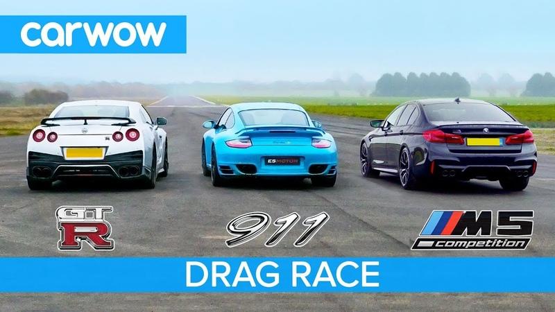 Nissan GT-R vs Porsche 911 Turbo vs BMW M5 Comp - £100K DRAG RACE, ROLLING RACE BRAKE TEST