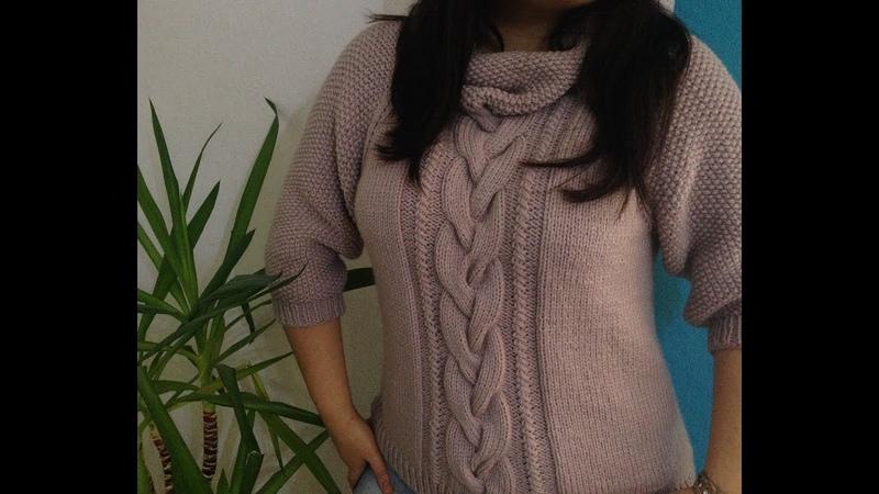 Вязаный свитер спицами регланом сверху с узором Рис часть 1