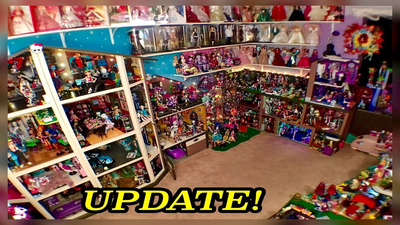 Monster High DollHouse Tour 50Room 54Bed 350MH Dolls Collection School House Mansion Dorm Video RV
