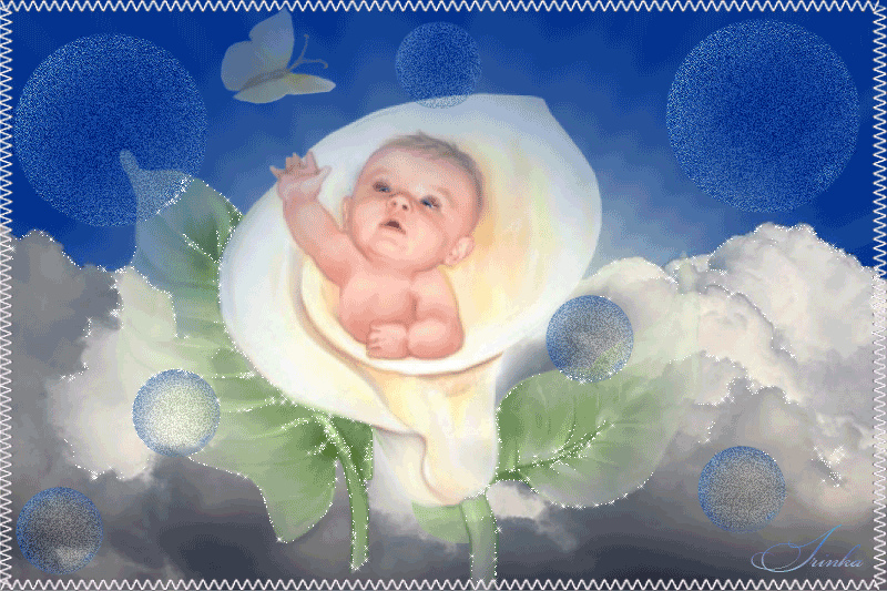 Анимационная открытка новорожденной