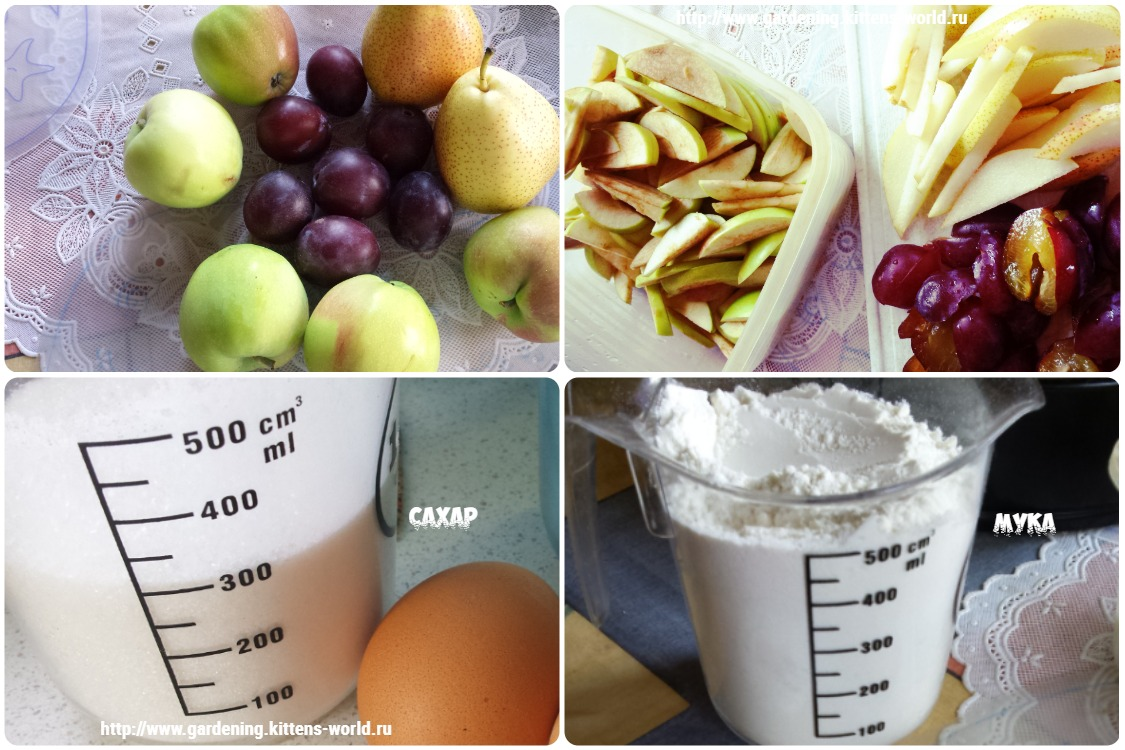 Шарлотка с яблоками, грушами и сливой