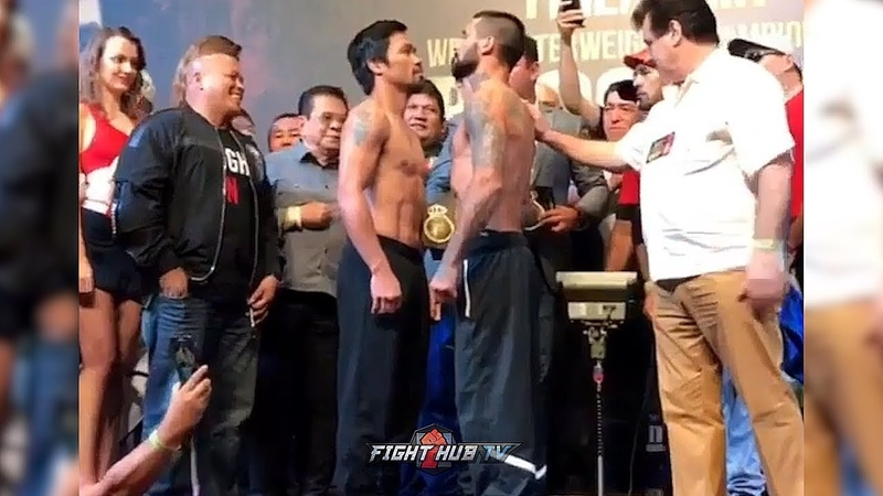 MANNY PACQUIAO LUCAS MATTHYSSE COME FACE TO FACE DURING WEIGH IN !