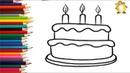 Как нарисовать торт Раскраска для детей - Учимся рисовать цветными фломастерами