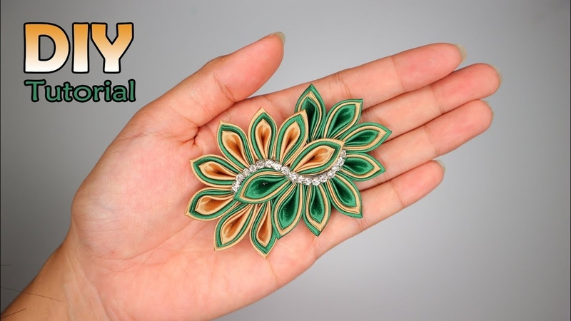 DIY || How to make Kanzashi Flower 29 | Cara membuat bros pita satin | ribbon | Tutorial handmade