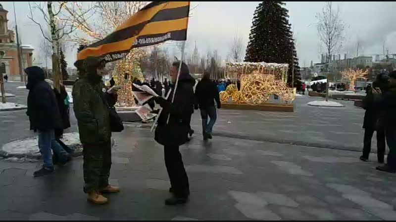 Одиночный пикет НОД парк Зарядье Москва.
